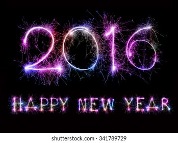 HAPPY NEW YEAR 2016 from colorful sparkle on black background
