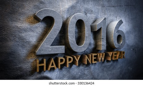 Happy new year 2016 concept in 3d