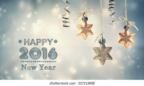 Happy New Year 2016 message with hanging star ornaments