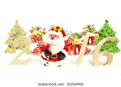 Happy New Year 2016 wooden numeric and Christmas tree, bell, santa claus on white background
