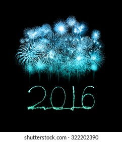 Happy new year 2016 written with beautiful Sparkle firework