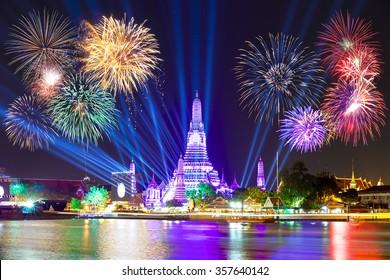 Happy new year 2016,Countdown 2016 at Wat ArunTemple,Fireworks,Wat Arun at a light,Bangkok,Thailand