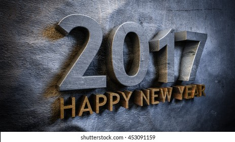 Happy new year 2017 concept in 3d