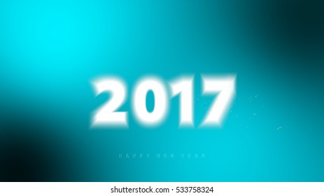 Happy new year 2017, embossed letter on blue background.