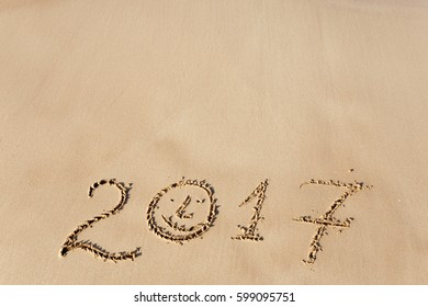 Happy New Year 2017, lettering on the beach