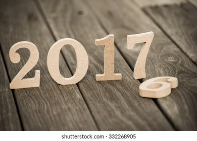 Happy New Year 2017 on nature concept, wood number idea