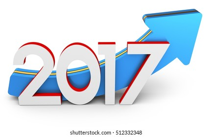happy new year 2017 text with arrow  on white background 3D illustration
