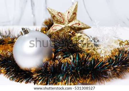 white and gold christmas ornaments on white background merry christmas - White And Gold Christmas Ornaments