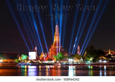 Happy new year 2017,Wat ArunTemple,Fireworks,Wat Arun at a light,Bangkok,Thailand