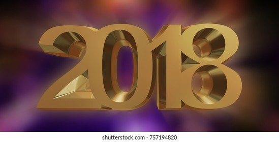 Happy New Year 2018 3d rendering