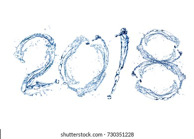 Happy New Year 2018 by Pure splash of water isolated on white background