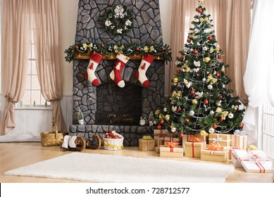 Happy new year 2018, christmas decoration
