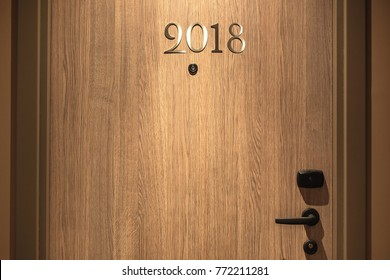 Happy New Year 2018 concept, lettering on the Hotel door.