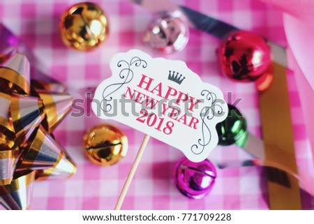 happy new year 2018 with decoration we wish you a new year filled with wonder