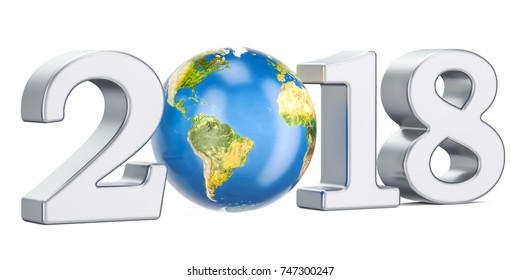 Happy New Year 2018 with Earth Globe concept, 3D rendering, Elements of this image furnished by NASA