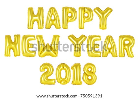 happy new year 2018 in english alphabet from yellow golden balloons on a white