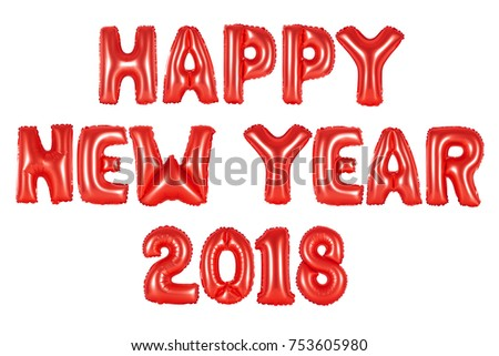 happy new year 2018 in english alphabet from red balloons on a white background holidays