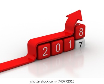 Happy New Year 2018 with graph concept, 3D rendering