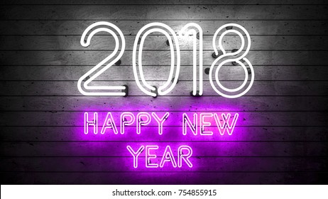 Happy New Year 2018. Neon shapes with lights.