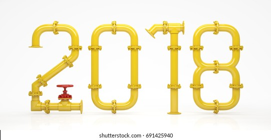 Happy new year. New 2018 year from pipes. 3D Render