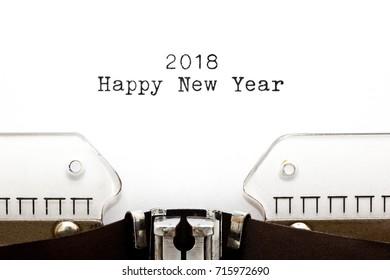 Happy New Year 2018 printed on retro typewriter.