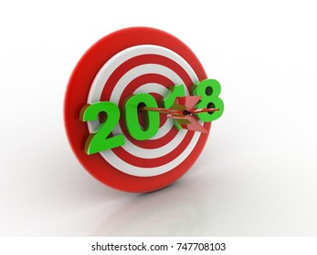 Happy New Year 2018 with target concept, 3D rendering