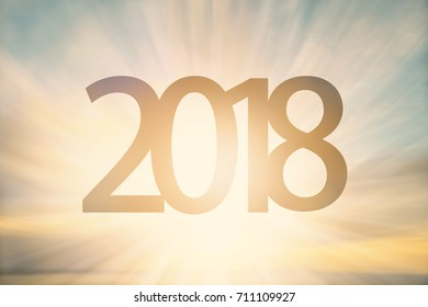 Happy new year 2018 text calendar blur background cover concept template number pass from 2017 go to 2018