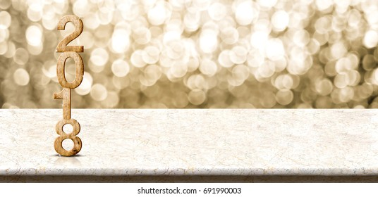Happy new year 2018 wood number (3d rendering)on marble table with sparkling gold bokeh wall,panoramic banner for display or montage of product for holiday promotion and advertise for online content