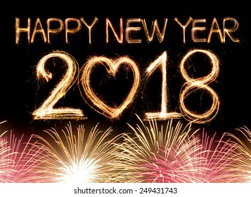 happy new year 2018 word made from sparkler light firework