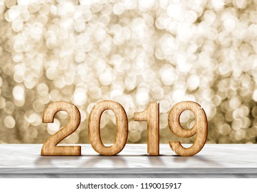 Happy new year 2019 (3d rendering) on grey marble table at gold sparkle bokeh abstract background,holiday greeting card