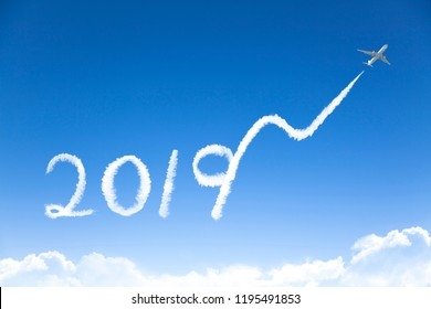happy New year 2019 and business growth concept.drawing by airplane