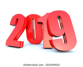 Happy New Year 2019 calendar background 3D render