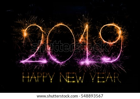 Happy New Year 2019 Colorful Sparkle Stock Photo Edit Now