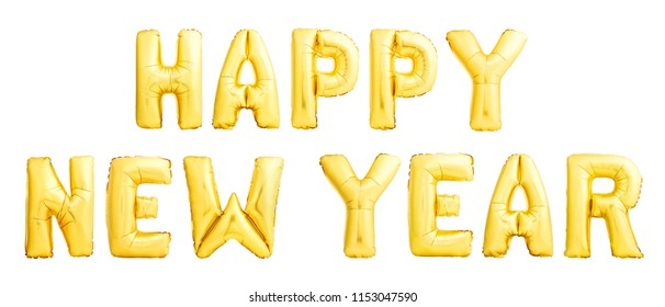 Happy New Year 2019 concept made of golden inflatable balloons isolated on white background. Christmas party decoration balloons