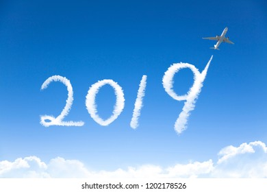 happy new year 2019 concept.drawing by airplane in sky