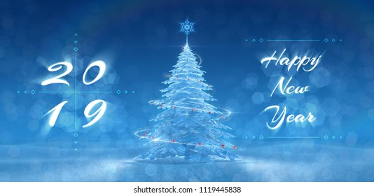 'Happy New Year - 2019' Festive Design. Greeting card created on the basis of typescript and 3D rendering graphics.