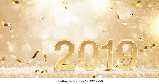 Happy New Year 2019. Golden Background with Sparklers and Confetti