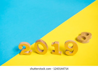 happy new year 2019 and goodbye 2018 concept wooden number 2018 change to 2019 on