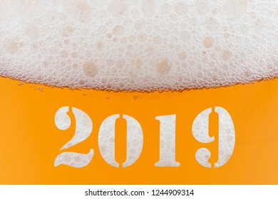 Happy New Year 2019 - inscription on a glass of beer