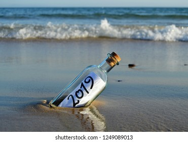 Happy New Year 2019, message in a bottle