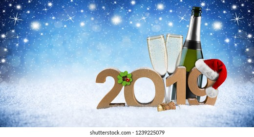 happy new year 2019 number with santa hat four leaf clover champagne bottle glass in front of blue snow night sky panorama background