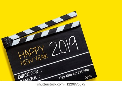Happy new year 2019 ,text title on movie Clapper board