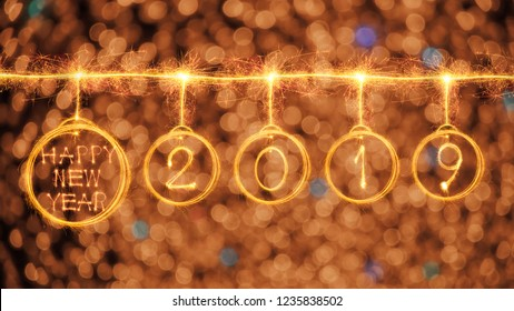 Happy new year 2019 text and circle look like bulb written with sparkle fireworks isolated on black background