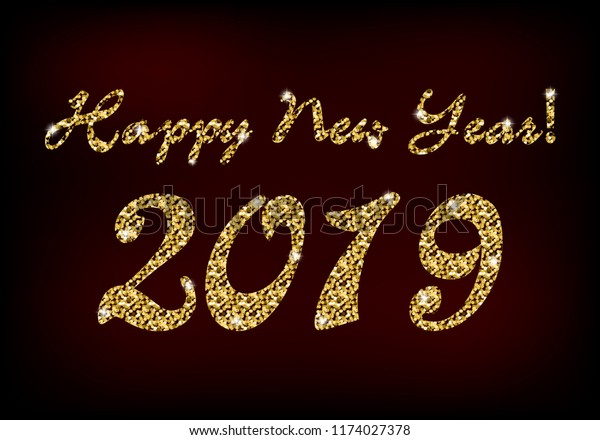 Happy New Year 2019 Text Golden Stock Photo (Edit Now