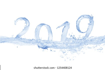 Happy New Year 2019 water splash    isolated on white background, water