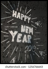 Happy New Year 2019 White lettering on black background Water pattern Pictures of the holiday season with the elements of letters and stripes.