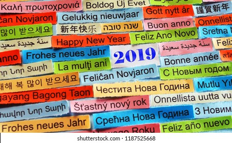 Happy New Year 2019 Word Cloud printed on colorful paper different languages