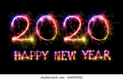 Happy New Year 2020 from colorful sparkle on black background