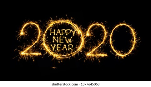 Happy New Year 2020. Creative text Happy New Year 2020 written sparkling sparklers isolated on black background for design. Beautiful Glowing overlay template for holiday greeting card.