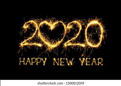 Happy New Year 2020. Creative collage text Happy New Year 2020 on black background. Beautiful holiday template for design for New Year 2020